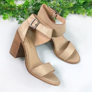 Kelsi Dagger Cream Textured Block Heel Sandal 7.5
